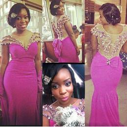 Hot Pink Chiffon Sheer Neck Mermaid Bridesmaid Dresses Long 2016 African Short Sleeve Illusion Back Beaded Crystal Wedding Guest Dress