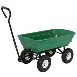 Wholesale Heavy Duty LB Garden Dump Cart Air Tires Dumper Wagon Four wheel Stainless Steel Carrier Wheel Barrow
