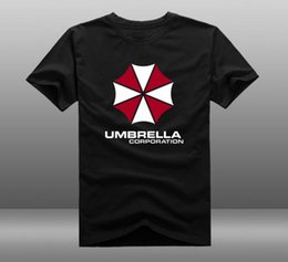 Wholesale Mens Casual Resident Evil Umbrella Corporation Logo Cotton Short Sleeve O Neck T shirts Tops Clothing