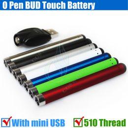 Top Bud touch Colorful battery 280mah 510 O Pen CE3 atomizers vape Oil thick Waxy Smoking wax Tank mini usb charger ecigarette vapor DHL