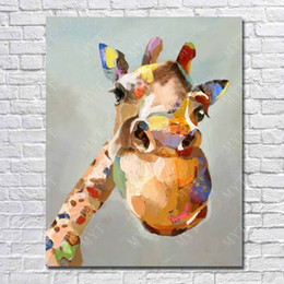 Wholesale Oil Painting High Quality Lovely Giraffe Picture Oil Base on Canvas Home Decoration Wall Art or as Gift