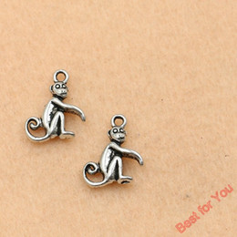 Wholesale 100pcs Antique Silver Plated Monkey Charms Pendants For Jewelry Making Craft Diy Handmade x13mm jewelry making