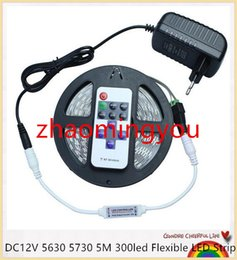 YON DC12V 5630 5730 5M 300led Flexible LED Strip Light Non-waterproof + 12V 2A Power Adapter + 11Key RF Controller + DC Connector