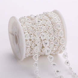 10yards Rhinestone Sewing Trim Flat Back Plastic ABS Pearl Beads String Beads Ivory Heart Shape Crystal Chain For Wedding Dress