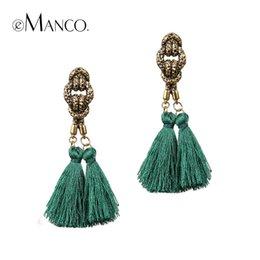 Wholesale eManco tassel drop earring antique gold plated zinc alloy long dangle earrings for women ear jewelry boucle d oreille pendante