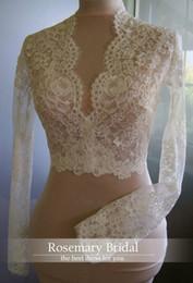 Real Photos Long Sleeve Bolero Lace Wedding Bride Jacket 2016 Custom Made Boleros Lace Wedding Bride