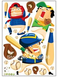 Wholesale new products for decorative play baseball cartoon wall decal stickers for kids room nursery sticker