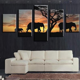 Wholesale 5 Piece elephants walking Modern Home Wall Decor Canvas Picture Art HD Print WALL Painting Set of Each Canvas Arts Without Frame