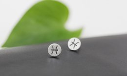 30Pair- S026 Zodiacal Pisces Earrings Signs Zodiac Constellation Earrings Horoscope Astrology Disc Coin Stud Earrings for Birthday Gifts