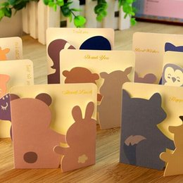 Wholesale Cute Animal Small Gift Cards Creative Mini Greeting Cards For Kids Idea for Birthday Valentine Friendship