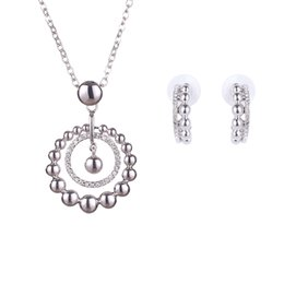 Creative Popcorn Circle Crystal Rhinestone Necklace And Earring Suit The Clothing Jewelry Set Gift For Women 2016 Fashion