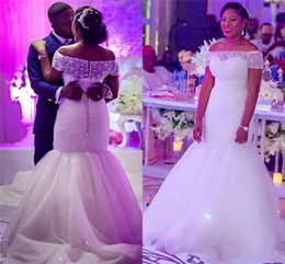 New African Sexy Plus Size Mermaid Wedding Dresses with Short Sleeves Vintage Off-shoulder Mermaid Beaded Lace Up Long Bridal Gowns