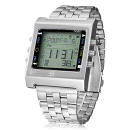 Wholesale New Rectangle TVG Remote Control Digital Sport watch Alarm TV DVD remote Men and Ladies Stainless Steel WristWatch