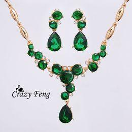 Free shipping Romantic Party Jewelry Sets 18K Yellow Gold Plated CZ Diamond Rhinestone Necklace Earrings Jewelry Sets Women
