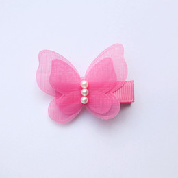 24pcs Animals Shape Small Size Hair Clips Lovely Butterfly Kids Hairpin with Beads Girls Barrettes Double Level Autumn Style