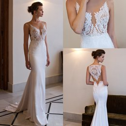 Sexy Beach Wedding Dresses Sheer Illusion and Back Embroidery Lace Appliqued Mermaid Trumpet Style Court Train Bridal Gowns