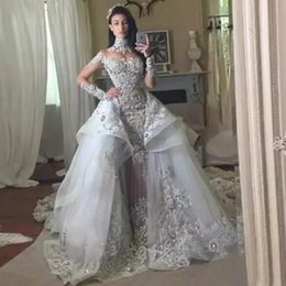 Sparkly Luxury Detachable Wedding Dress Arabic Mermaid High Neck Illusion Long Sleeves Beaded Crystals Lace Applique Bridal Gown