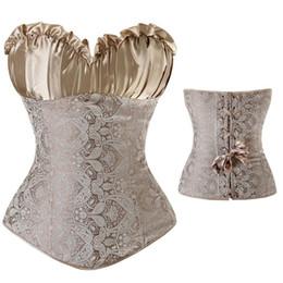 Waist Training Corsets Top Dress Lingerie Overbust Boned Corsets Floral Print Tops Bra Lace Up Wedding Corset Bustier