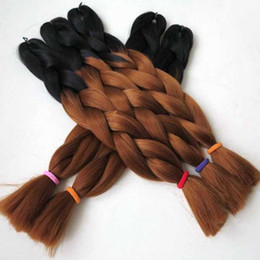 Black 30# Color Ombre Two Tone Colored Jumbo Braid Hair   omber synthetic jumbo braiding hair FREE Shipping!!!