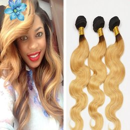 Wholesale New arrival dark roots color b honey blonde ombre body wave hair extensions A brazilian two tone human hair weaving weft bundles