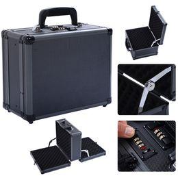 Double Locking Handgun Box Gun Case Pistol Hard Carry Foam Storage w  Code Set
