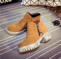 Wholesale 2016 HOT Vintage Platform Shoes For Women Ankle boots cm heels Size Comfy Heels Cleated Designer Cheap Online Stores