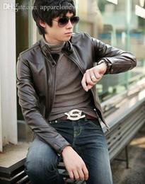Venta caliente de la motocicleta en venta-Chaquetas de la motocicleta del mens de la chaqueta del motorista del negro de la chaqueta de cuero de la marca de fábrica de la manera de la alta calidad de los hombres del estilo Otoño-Coreano