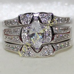 925 Sterling Silver Marquise-cut Simulated Diamond CZ Paved Engagement Wedding 3 Band Ring Set for Women Sz 6-10