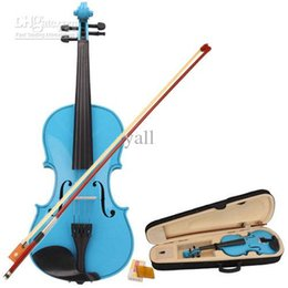 Wholesale New Acoustic Violin Case Bow Rosin Blue Ship From USA Y00273
