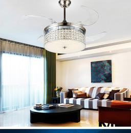 Crystal ceiling chandelier fans living room led remote control restaurant bedroom ceiling chandelier fan invisible fan lights