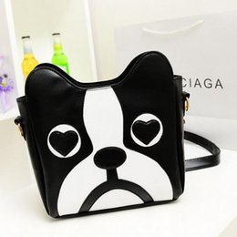 2016 Black and white wave packet collision color messenger bag shoulder bag retro fashion cartoon cute sweet little dog pack