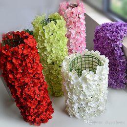 Wholesale Flower Walls Artificial Silk Hydrangea Flower Wall for Wedding Backdrop Lawn Pillar Road lead Decoration cm pc