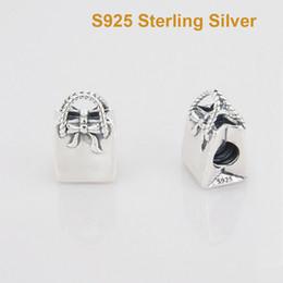 925 Sterling Silver Shopping Bag Charme avec des sacs à main Bow perles S'adapte Pandora Bracelets Pour Diy cadeau européen Collier à partir de boutiques de charme fabricateur