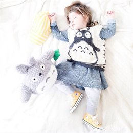 Wholesale Cartoon Boy Hood - Wholesale Boys Girls Baby Kids Waistcoat Spring Autumn Cartoon Totoro Cotton Outwear Clothes Cute Tops Boutique Clothing