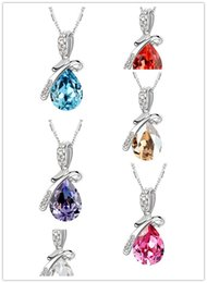 Wholesale Sell Swarovski Necklace - 1pcs by Sold Newest Design Pendant Necklace Swarovski Elements Necklaces Jewelry High Quanlity Women's Crystal Necklace Free Shipping
