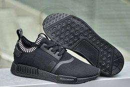 Wholesale Big size Eur NMD S81849 Black Japan Primeknit Originals NMD With Box Triple Black LITE Japanese Limited Edition Nmd Boost