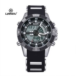 Los hombres deportes al aire libre de cuarzo reloj digital de pulsera de silicona militares Relogio Masculino Liandu Marca Relojes B220 titular de reloj barato desde relojes de los hombres titular fabricantes