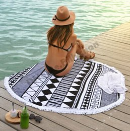 Fashion Bohemia beach towel 1.5M Tassel Round Knitted beach towel 100% cotton Round Beach Towel with tassels swimming beach towels D390