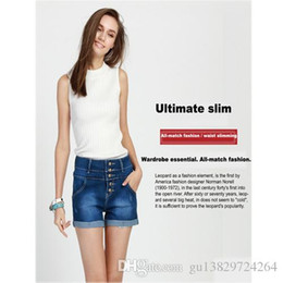 Wholesale This yearThe spring and summer high waisted pencil pants washed cotton denim jeans shorts Womens Fashion shorts row buckle flange