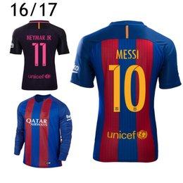 Wholesale 2016 Iniesta Long SLeeve Soccer Jerseys Lionel Messi Uniform Kits Kids Women Football Neymar JR Camisetas de futbol Suarez Shirts