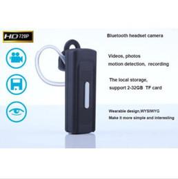 Espía cámara de auriculares bluetooth cámara 1280 * 720p ocultado cámara de audio grabadora de vídeo de audio Mini videocámara de detección de movimiento de apoyo 2-32GB TF tarjeta desde bluetooth auriculares cámara espía proveedores