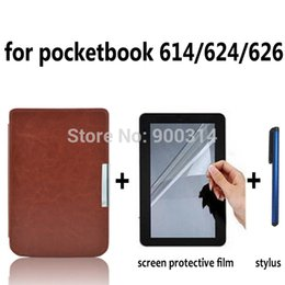 Wholesale Leather Case Cover funda for Pocketbook touch Pocket book basic Lux Aqua ereader e Books Case film stylus