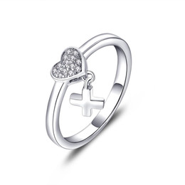 Wholesale 2016 Sterling Silver Heart ring for Women wedding with Cubic Zirconia stone Lover infinity Gift cross new fine jewelry wholsale DL61810A