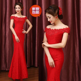 Wedding dress Wedding Strapless evening dress red long sleeved toast a fishtail wedding dress with long sleeves