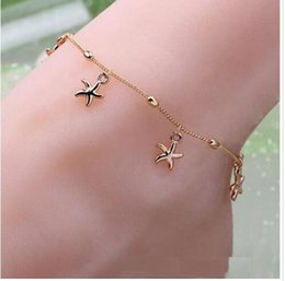 Wholesale 2016 the new female charm starfish gold chain link bracelet bracelet barefoot sandals feet women jewelry for women
