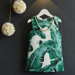 Wholesale Fashion Children Girls Vest Dresses Banana Plantain Leaves Print Cotton Comfor Kids Dress Wear Green K7989