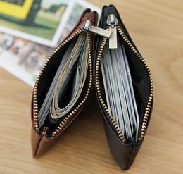 Fashion Lady Genuine Calf Leather Canvas Coated Key Pouch Women Zippy Key Coin Wallet Brown White Black 3 Styles