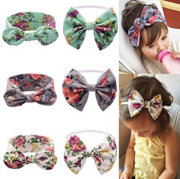 Lovely Bunny Ear Headband Scarf Head Band Cotton Bow elastic Knot Headband rabbit baby hair accessories floral polka dots headwrap Cute Bow