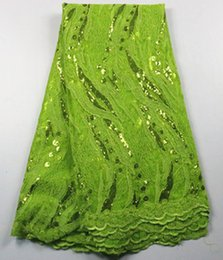 5 Yards lot Wonderful lemon green mesh lace with sequins french net lace fabric for wedding clothing AN59-5