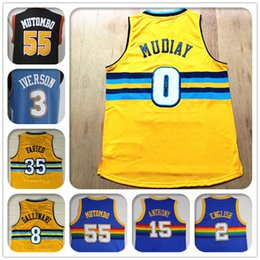 Wholesale Stitched Throwback Retro Men Nugget jersey Allen Iverson Mutombo Faried Gallinari Mudiay Anthony English